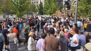 picture of crowd at solidarity rally downtown Cleveland